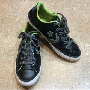 CONVERSE CONS BLACK LEATHER LOW TOP SNEAKERS
